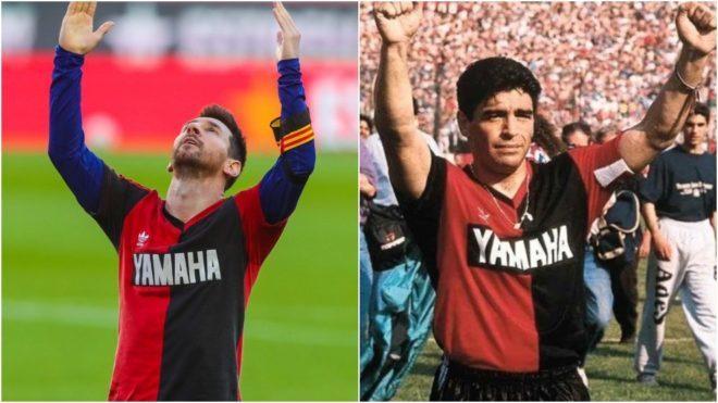 Momento en que Messi evocaba a su ídolo Maradona. Foto: internet